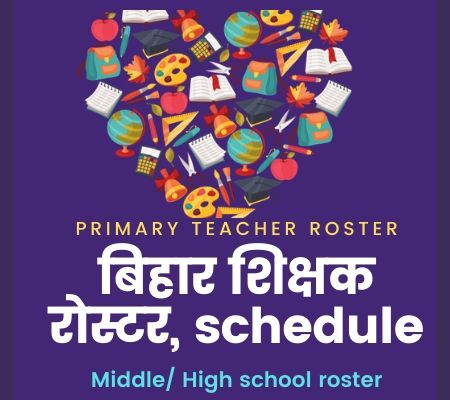 Roster of teacher vacancy in Bihar, Primary Teacher roster Download